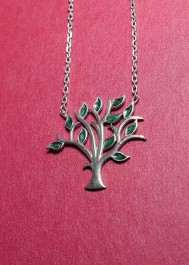 Silver necklace tree